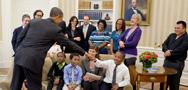 President Obama greets White House visitors