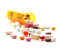 A photo of pill bottle with pills