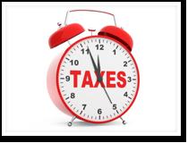 Esta es una imagen de un reloj despertador con la palabra taxes.