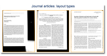An example of 3 different journal article layout types.