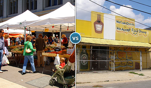 Comparing two photos: one of a busy farmer's market versus another of a vacant and dilapitated store.
