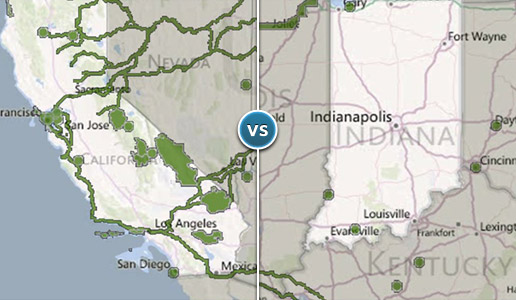 Comparing two illustrations: one depicting a large amount of green space and parks in California versus another depicting a sparse amount in Indiana.