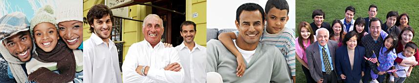 Photos of various families.