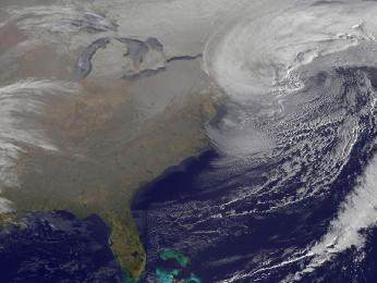 This image was taken from NOAA's GOES-13 satellite on Saturday, Feb. 9 at 7:01 a.m. EST. Two low pressure systems came together and formed a giant nor'easter centered right over New England creating blizzards from Massachusetts to New York. the image was created by NASA's GOES Project at NASA Goddar