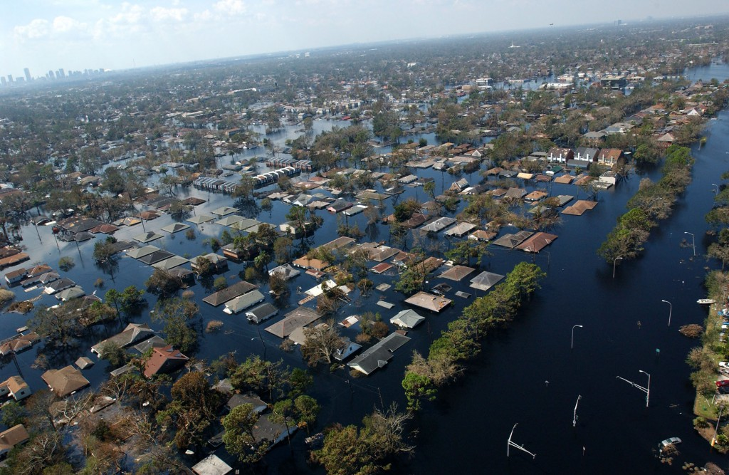 "Neighborhoods and roadways throughout the area remain flooded as a result of Hurricane Katrina,"" New Orleans, LA, Sept. 8, 2005"