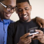 Men texting