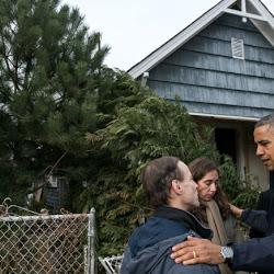 President Barack Obama Tours Storm Damage in New York