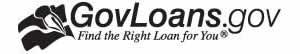 Logotipo de GovLoans.gov de blanco y negro en inglés