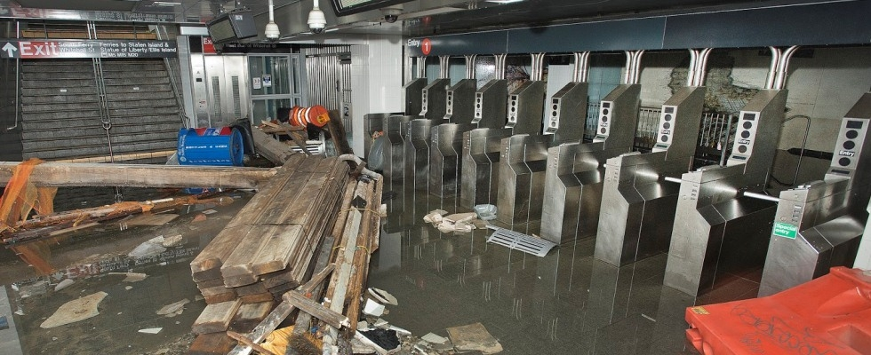 Photograph of flooding in South Ferry subway station