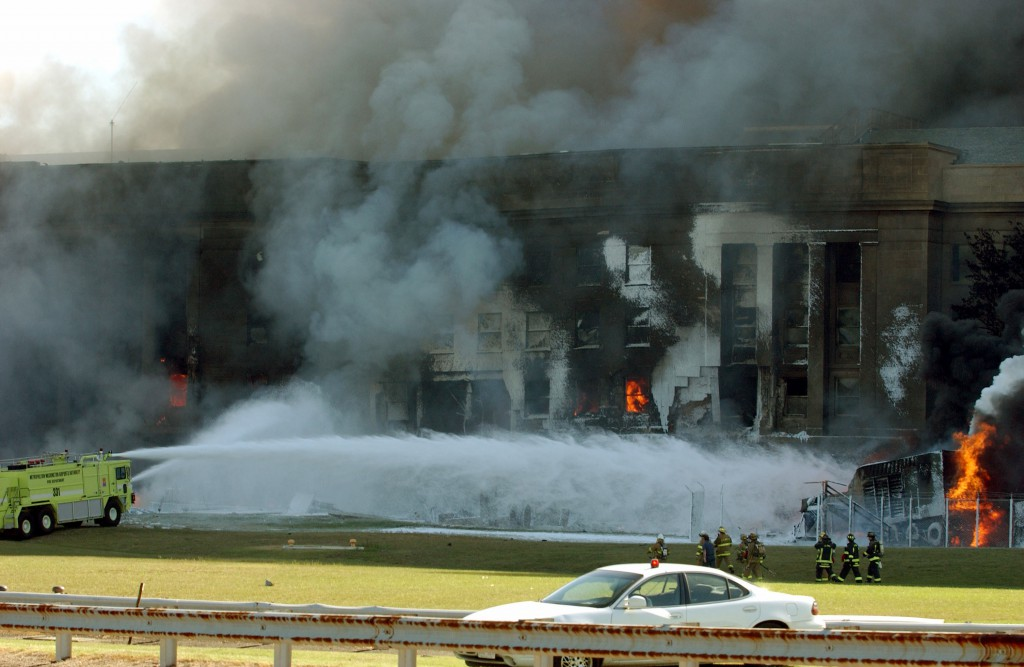 The Pentagon in flames moments after a hijacked jetliner crashed into building at approximately 0930 on September 11, 2001