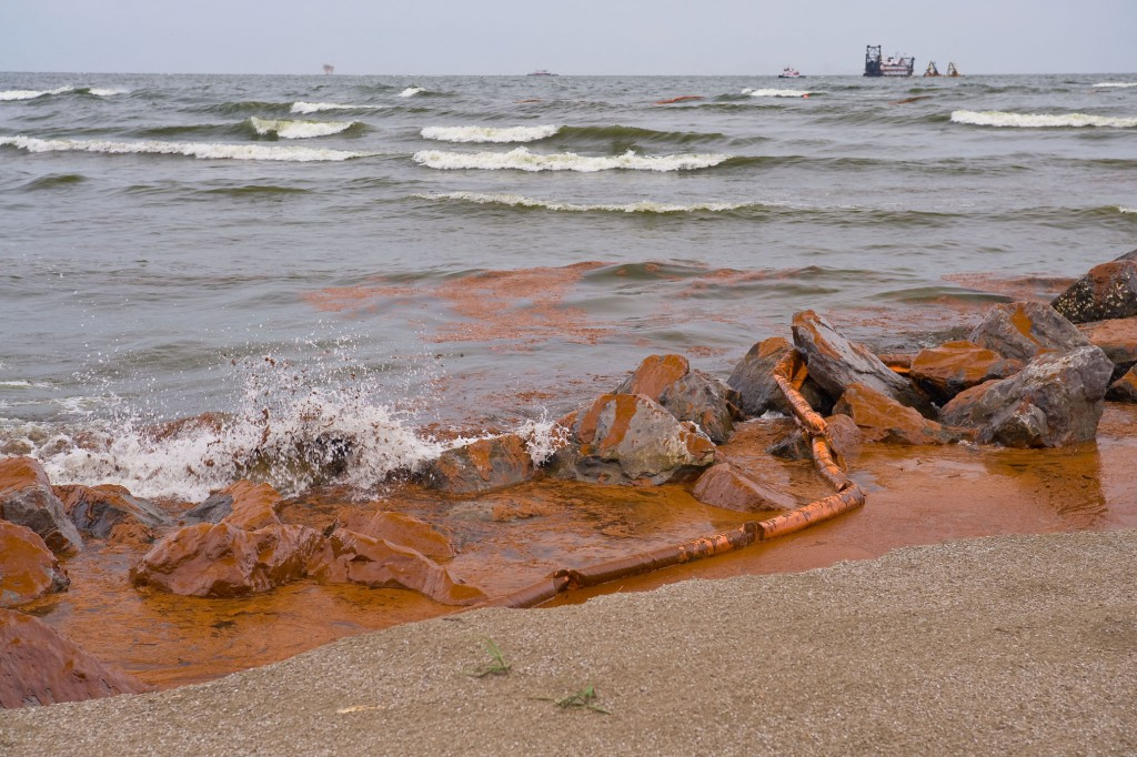 "Oil from BP Spill coats beach and jetty at Grand Isle State Park, LA,"" June 4, 2010"