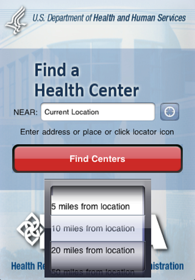 HRSA Find a Health Center App Map.