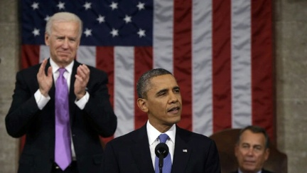Date: 02/12/2013 Description: Vice President Joe Biden applauds as President Barack Obama gives his State of the Union address during a joint session of Congress on Capitol Hill in Washington, Tuesday Feb. 12, 2013. House Speaker John Boehner of Ohio sits at right.  AP Image/Charles Dharapak