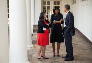 President Barack Obama talks with First Lady Michelle Obama and Tina Tchen, Chief of Staff to the First Lady, on the Colonnade of the White House, Feb. 12, 2013. (Official White House Photo by Pete Souza)