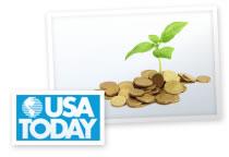 Imagen del logotipo de USA Today y una planta que nace de monedas de oro.