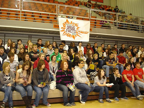 Teens in Sallisaw County Oklahoma listen to experts on drugs during National Drug Facts Week in an event planned by the Sallisaw Youth Coalition and the Community Anti-Drug Coalitions of America.