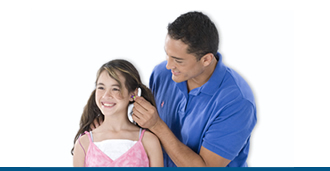 Parent protecting kid's hearing