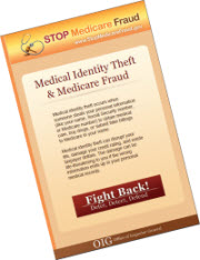 """Screenshot of a brochure with the heading """"Medcal Identity Theft & Medicare Fraud"""""""
