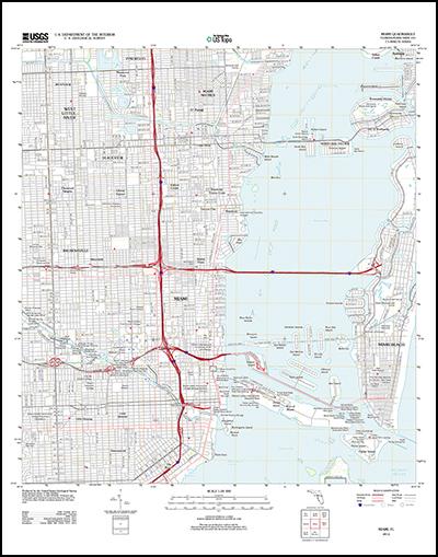 Thumbnail image of the 2012 Miami, Florida 7.5 minute series quadrangle (1:24,000-scale), US Topo (orthoimage layer off)