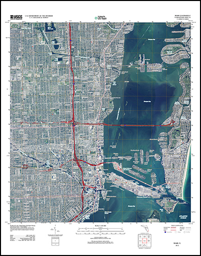 Thumbnail image of the 2012 Miami, Florida 7.5 minute series quadrangle (1:24,000-scale), US Topo (orthoimage layer on; contour, hydrography features, and woodland layers off)