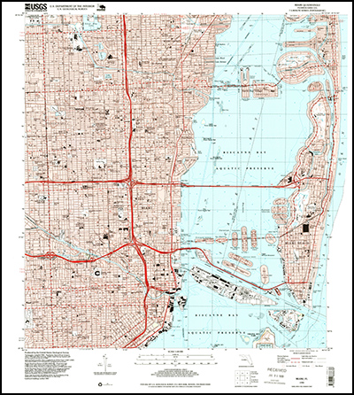 Thumbnail image of the 1994 Miami, Florida 7.5 minute series quadrangle (1:24,000-scale), Historical Topographic Map Collection.
