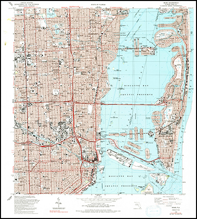 Thumbnail image of the 1988 (Photoinspected 1990) Miami, Florida 7.5 minute series quadrangle (1:24,000-scale), Historical Topographic Map Collection.