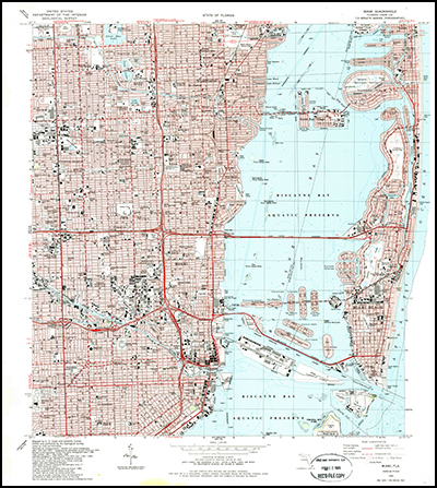 Thumbnail image of the 1988 Miami, Florida 7.5 minute series quadrangle (1:24,000-scale), Historical Topographic Map Collection.