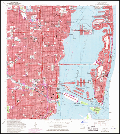 Thumbnail image of the 1962 (Photorevised 1969) Miami, Florida 7.5 minute series quadrangle (1:24,000-scale), Historical Topographic Map Collection.