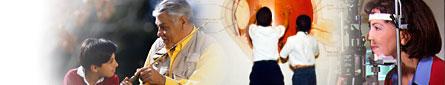 Diabetic Eye Disease: Various images of people: Man fishing, 2 boys looking at an eye diagram, and a woman getting an eye exam.