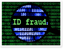 This is an image of a close up of a magnifying glass and ID fraud concept.