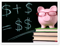This is an image of a piggy bank on top of text books next to a blackboard.