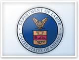 Sello oficial del Departamento del Trabajo de los Estados Unidos.