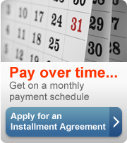 Pay over time. Get a monthly payment schedule. Apply for an installment agreement (button).