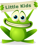 Frog holding a sign that says Little Kids