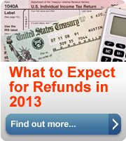 What to expect for refunds in 2013. Find out more about the changes we are making to get you your information faster. Find out more (button).