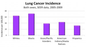 Chart shows lung cancer incidence broken down by race