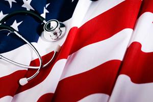 image of US flag and stethoscope