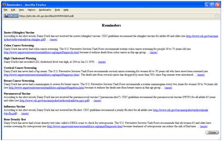 PHR screenshot