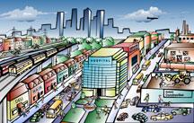 """Tox Town City scene - 7""""x10"""" @300dpi - 1.89 MB"""