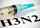 A syringe is shown with the caption 'H3N2' written below it.
