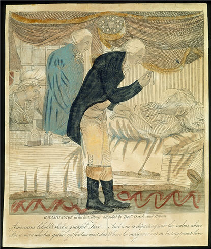 Etching of George Washington lying in bed with two doctors standing by