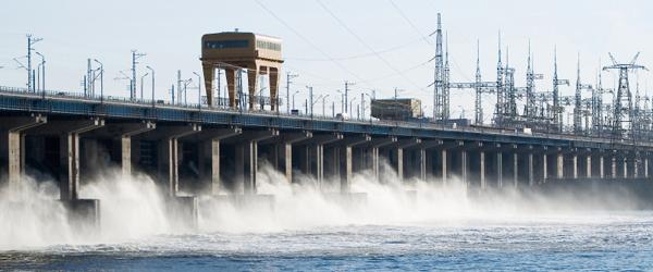 A dam releasing water