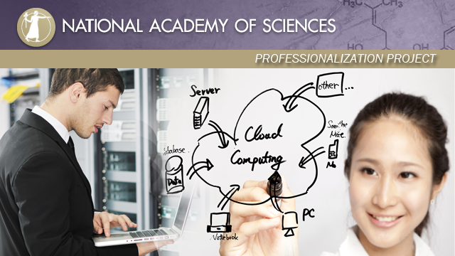 Image that includes the National Academy of Science logo, a man with a computer, and a woman writing on a white board that links to information about the National Academy of Sciences Professionalization Project.