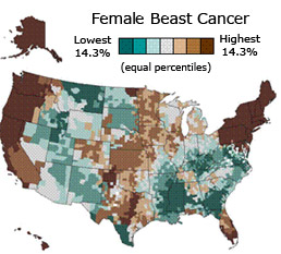 US map of smoothed predicted incidence rates for female breast cancer