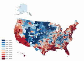 Map showing smoothed rates of lung cancer among white males, by US county. Regions are more broadly grouped.