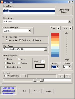 A screenshot of the ColorTool extension for ArcGIS