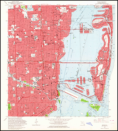 Thumbnail image of the 1962 Miami, Florida 7.5 minute series quadrangle (1:24,000-scale), Historical Topographic Map Collection.