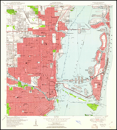 Thumbnail image of the 1950 Miami, Florida (with woodland) 7.5 minute series quadrangle (1:24,000-scale), Historical Topographic Map Collection.