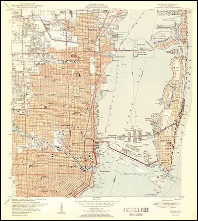 Thumbnail image of the 1950 Miami, Florida (without woodland) 7.5 minute series quadrangle (1:24,000-scale), Historical Topographic Map Collection.