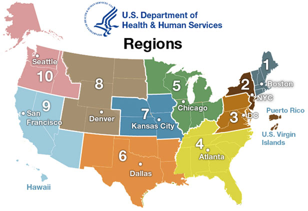 U.S. Department of Health and Human Services Regional Map
